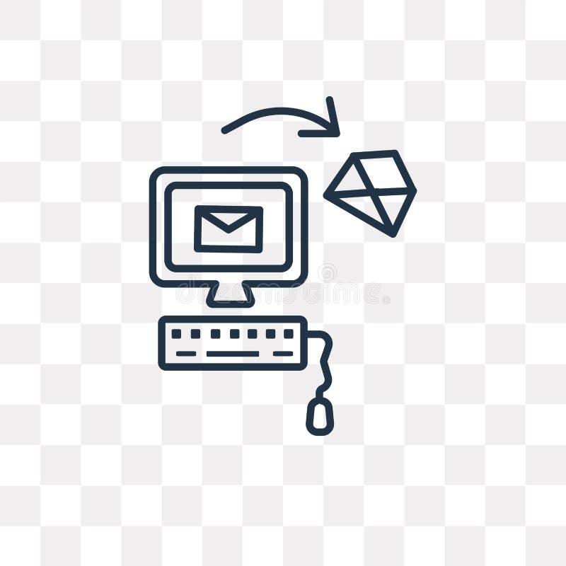 Ícone do vetor do correio isolado no fundo transparente, correio linear ilustração stock