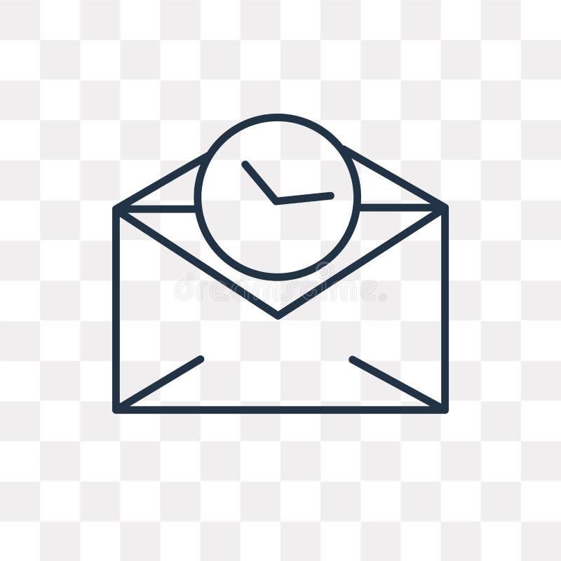 Ícone do vetor do correio isolado no fundo transparente, correio linear ilustração royalty free