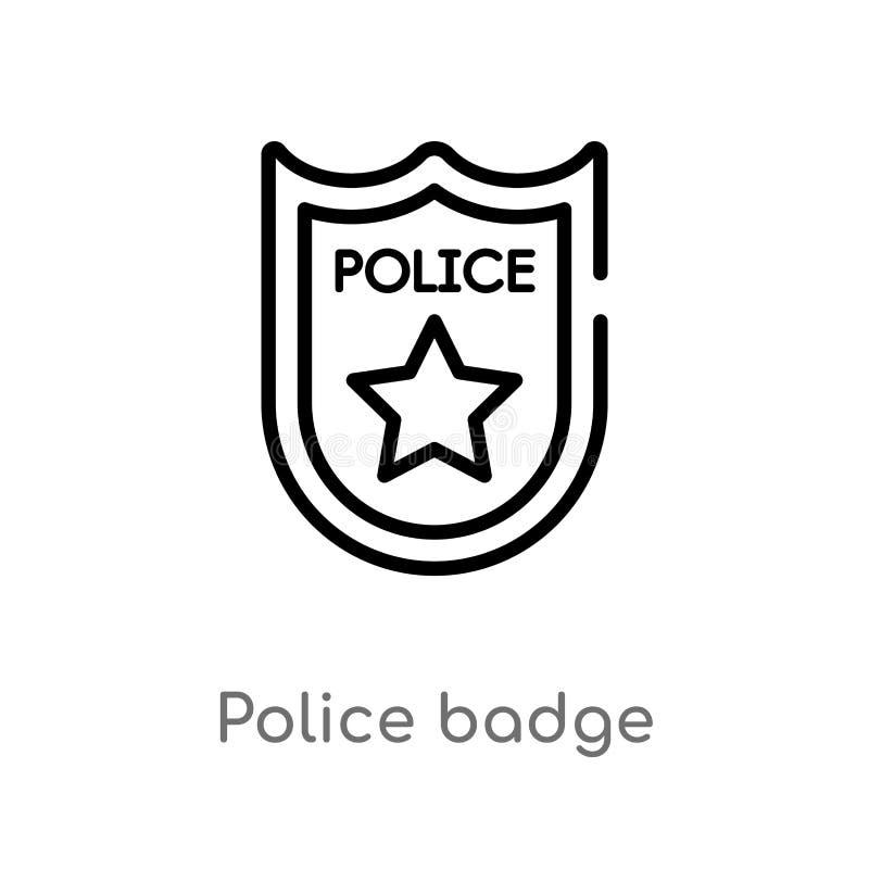 ícone do vetor do crachá da polícia do esboço linha simples preta isolada ilustração do elemento do conceito da lei e da justiça  ilustração stock