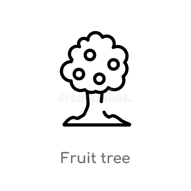 ?cone do vetor da ?rvore de fruto do esbo?o linha simples preta isolada ilustra??o do elemento do conceito da ecologia fruto edit ilustração royalty free