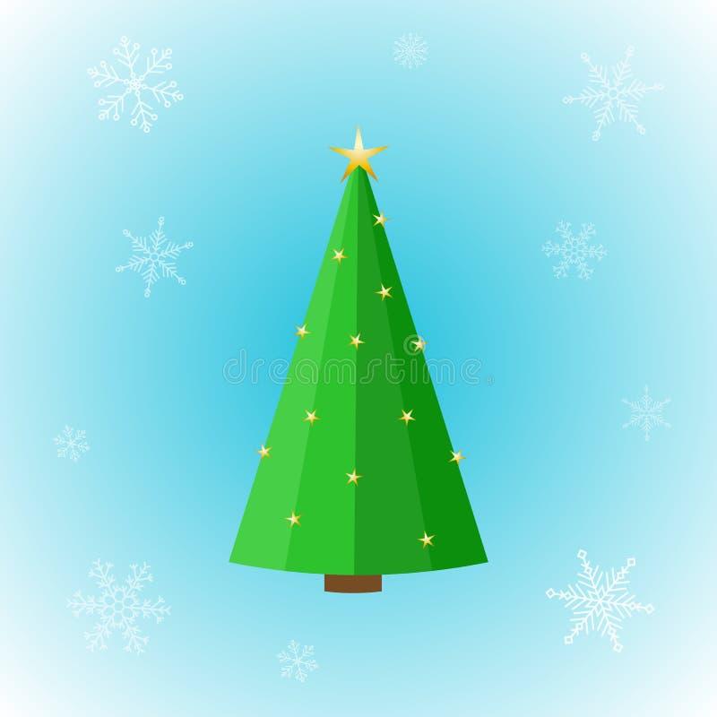 Ícone do vetor da árvore de Natal lisa com as estrelas douradas no fundo do inverno ilustração royalty free