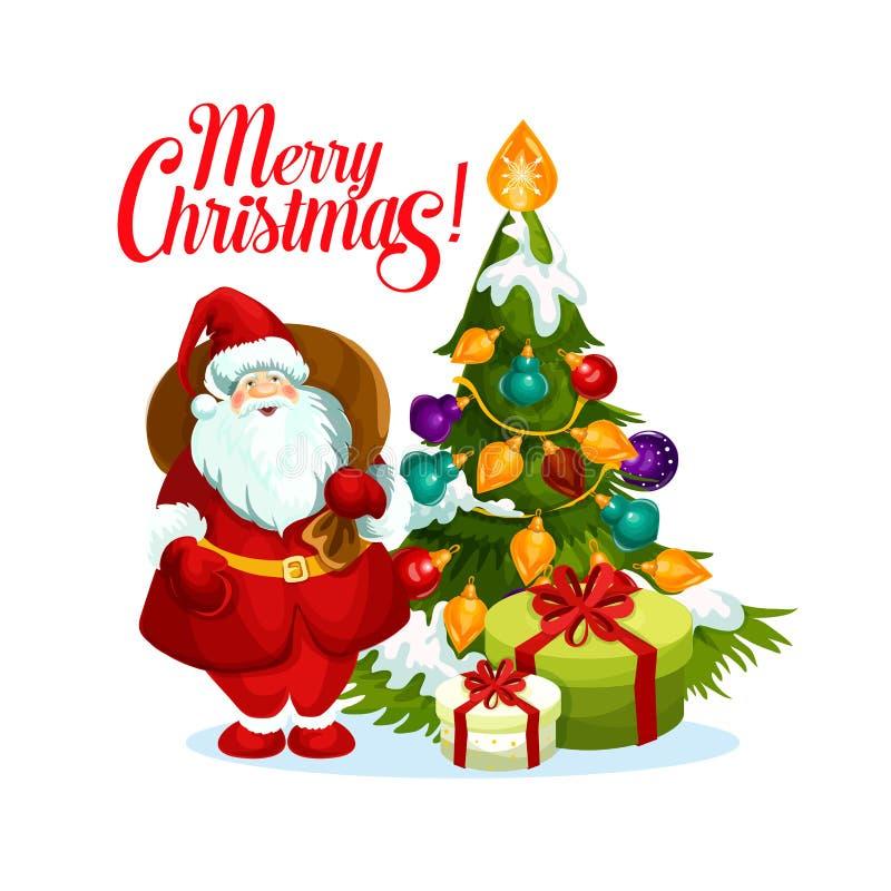 Ícone do vetor da árvore dos presentes de Santa do Feliz Natal ilustração royalty free