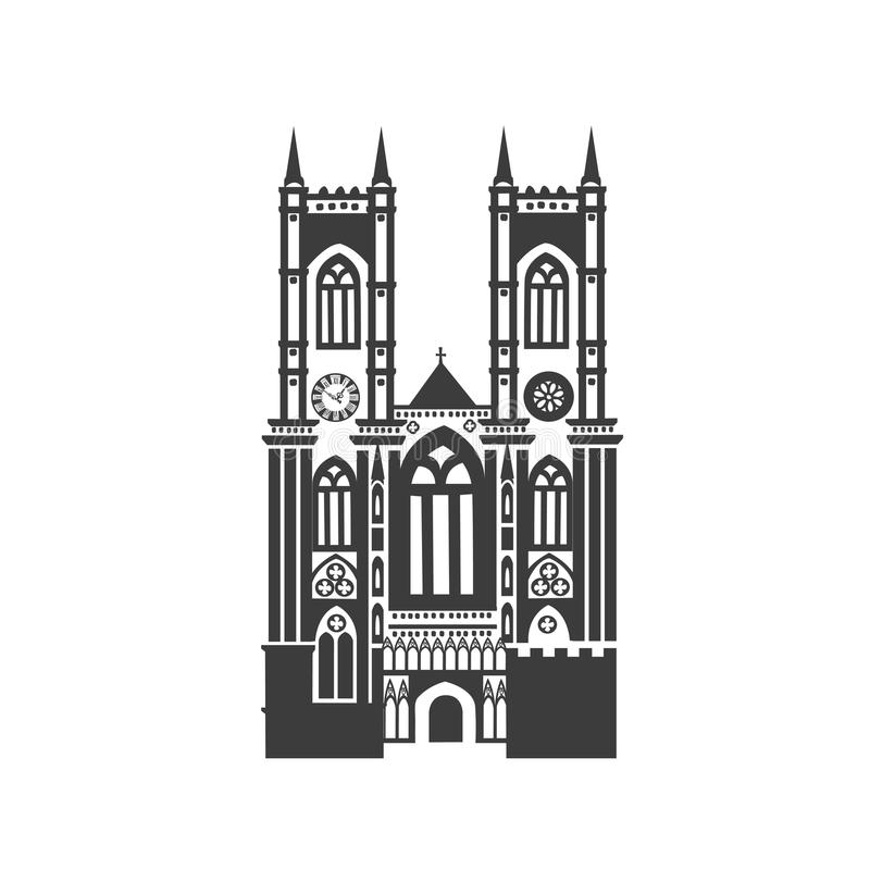 Ícone do vetor da abadia de Westminster ilustração royalty free