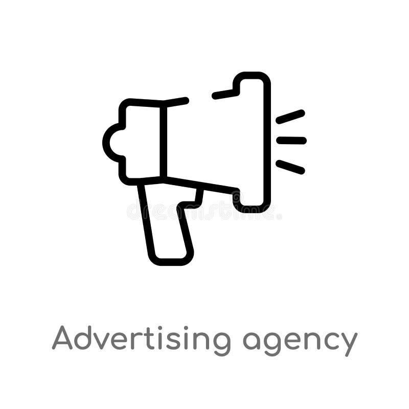ícone do vetor da agência de propaganda do esboço linha simples preta isolada ilustração do elemento do conceito general-1 Vetor  ilustração do vetor