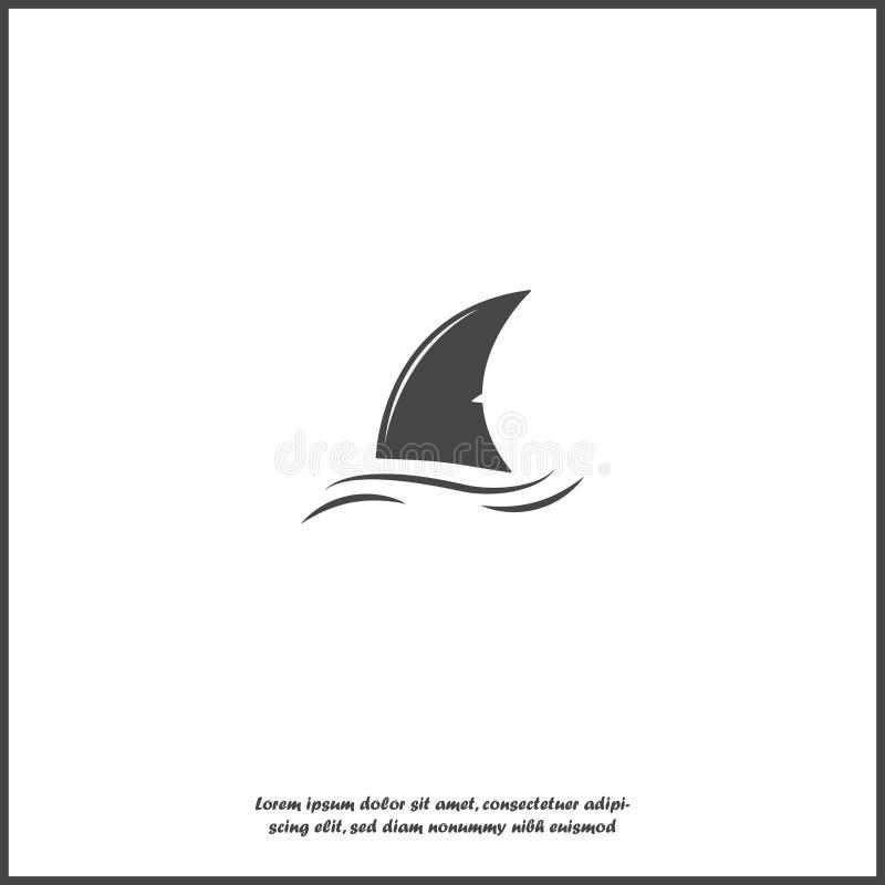 Ícone do vetor da aleta do tubarão Aleta na água no fundo isolado branco ilustração royalty free