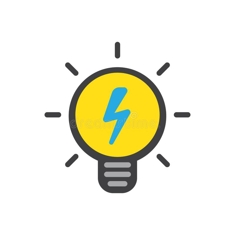 Ícone do vetor da ampola, lâmpada com relâmpago ilustração stock