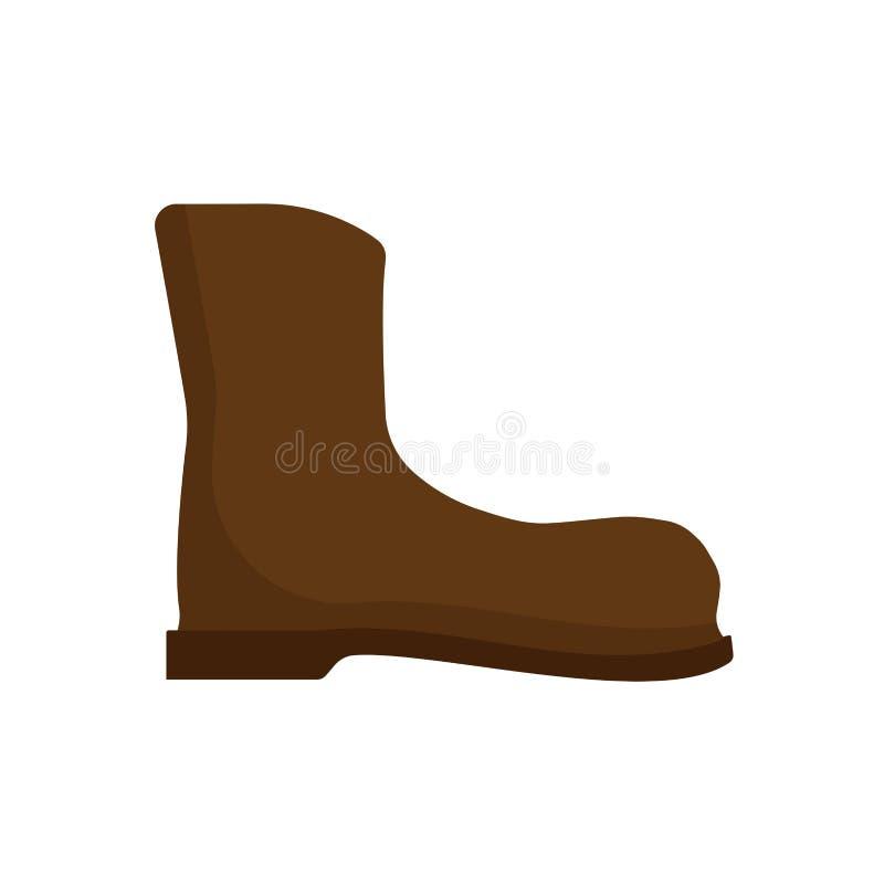 Ícone do vetor da arte das sapatas de couro do projeto da bota do trabalho Segurança da montanha que caminha o equipamento pessoa ilustração royalty free