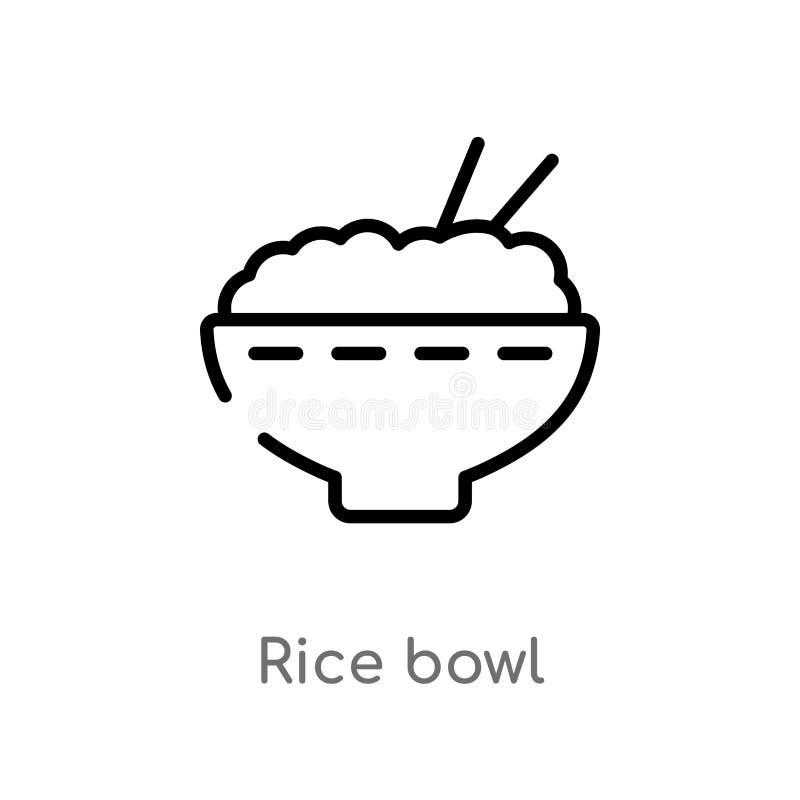 ícone do vetor da bacia de arroz do esboço linha simples preta isolada ilustra??o do elemento do conceito do alimento bacia de ar ilustração do vetor