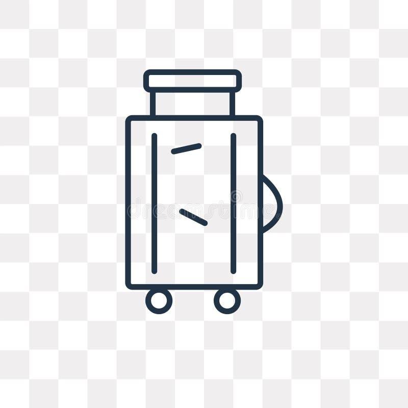 Ícone do vetor da bagagem isolado no fundo transparente, L linear ilustração do vetor