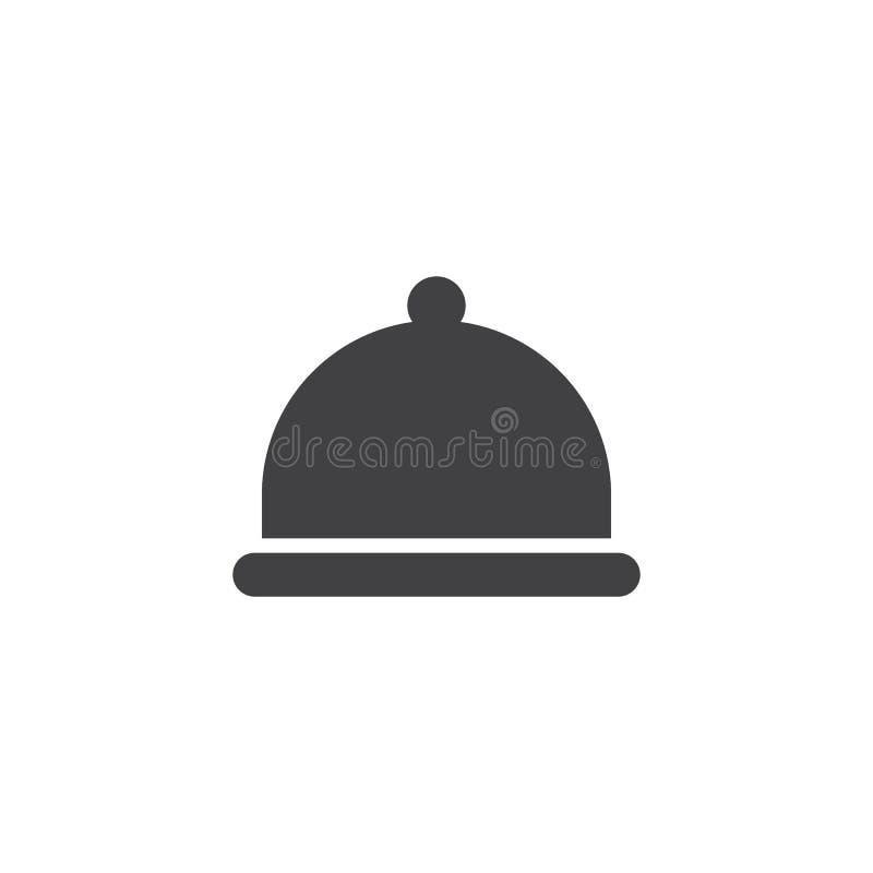Ícone do vetor da bandeja do alimento do restaurante do hotel ilustração royalty free