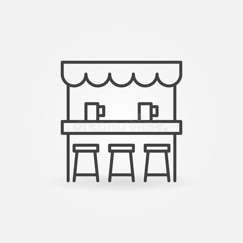 Ícone do vetor da barra da cerveja da rua na linha estilo fina ilustração stock