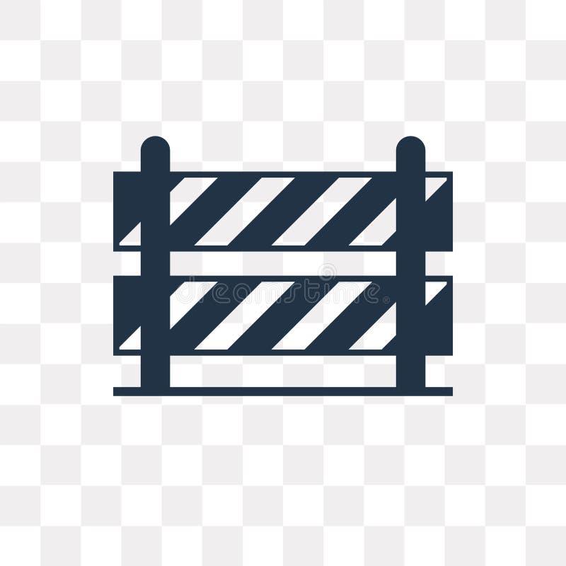 Ícone do vetor da barreira da estrada isolado no fundo transparente, Roa ilustração stock