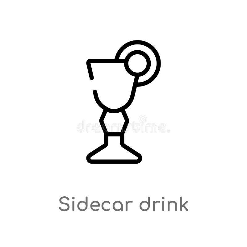 ícone do vetor da bebida do side-car do esboço linha simples preta isolada ilustração do elemento do conceito das bebidas Curso e ilustração do vetor