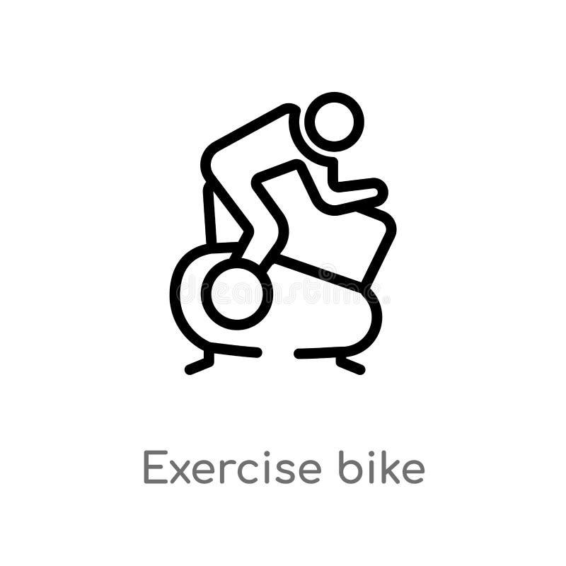 ícone do vetor da bicicleta de exercício do esboço linha simples preta isolada ilustração do elemento do gym e do conceito da apt ilustração royalty free