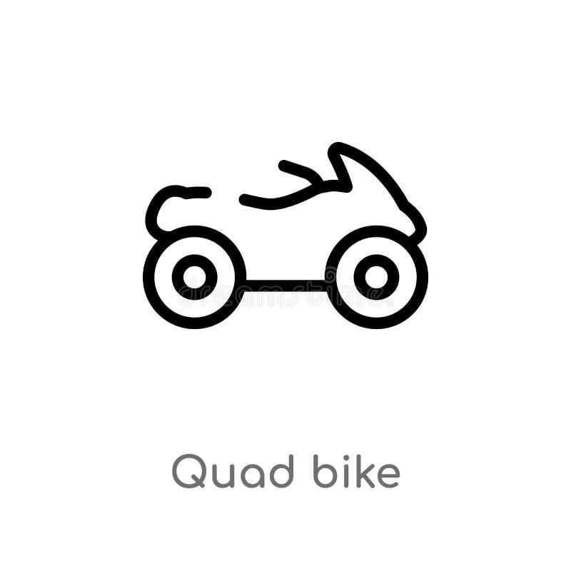 ícone do vetor da bicicleta do quadrilátero do esboço linha simples preta isolada ilustração do elemento do conceito do transport ilustração do vetor