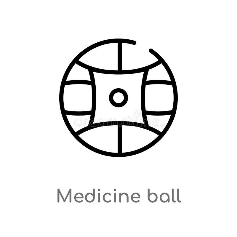 ?cone do vetor da bola de medicina do esbo?o linha simples preta isolada ilustra??o do elemento do conceito do equipamento do gym ilustração stock