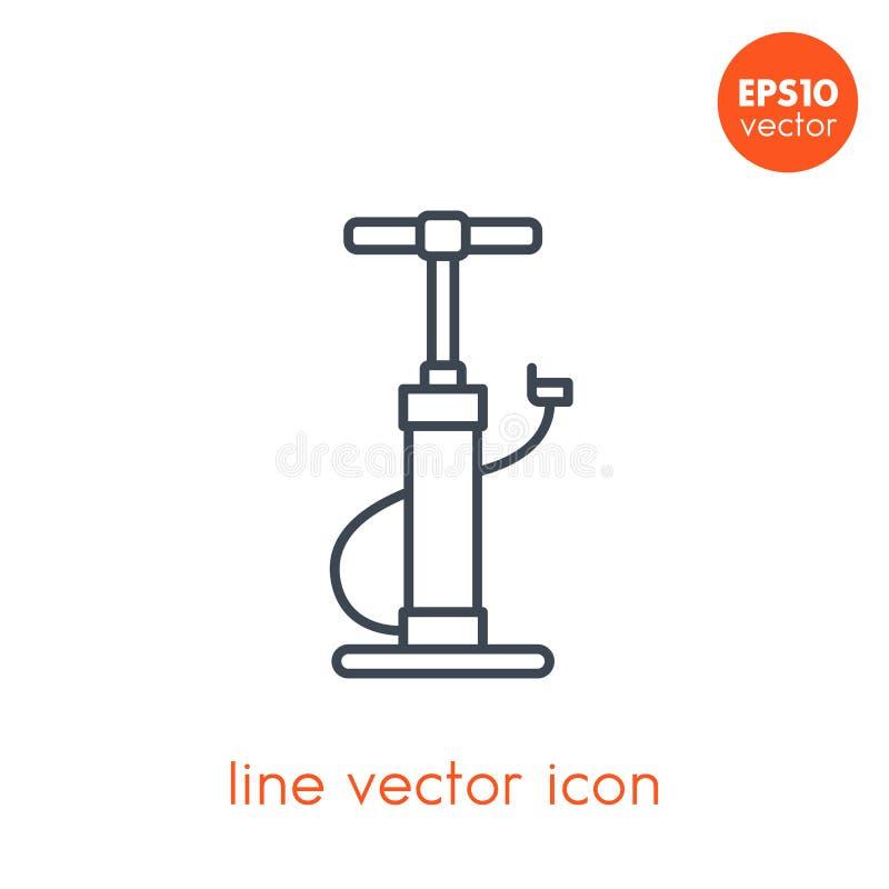 Ícone do vetor da bomba de bicicleta no estilo branco, linear ilustração do vetor