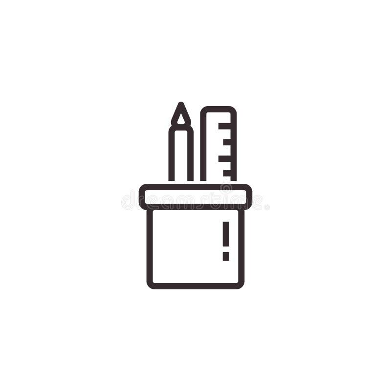 Ícone do vetor da caixa de lápis, pixel Eps10 perfeito S?mbolo do escrit?rio ilustração royalty free