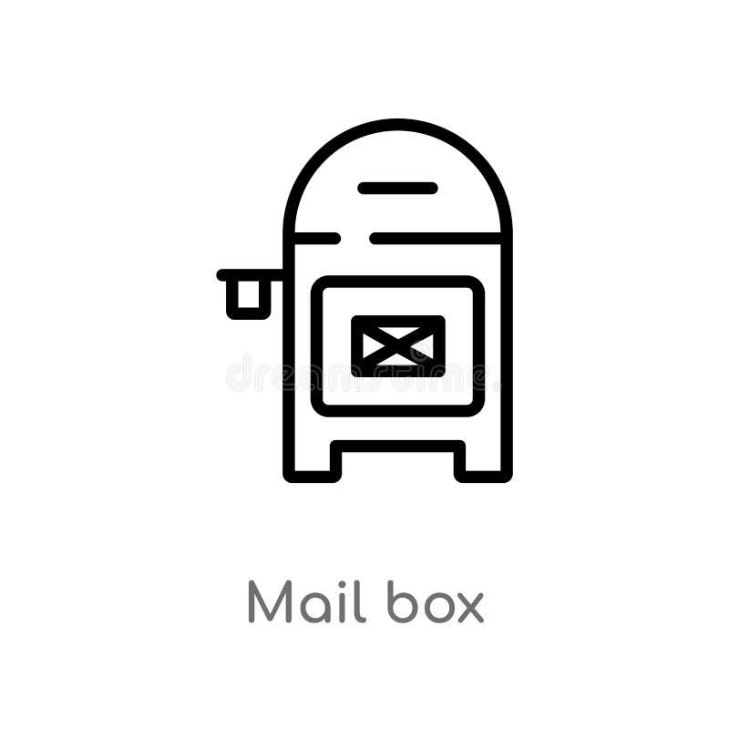 ?cone do vetor da caixa postal do esbo?o linha simples preta isolada ilustra??o do elemento do conceito das constru??es correio e ilustração do vetor