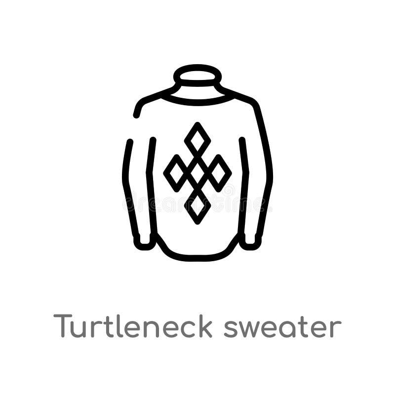 ícone do vetor da camiseta da gola alta do esboço linha simples preta isolada ilustração do elemento do conceito do inverno Vetor ilustração do vetor