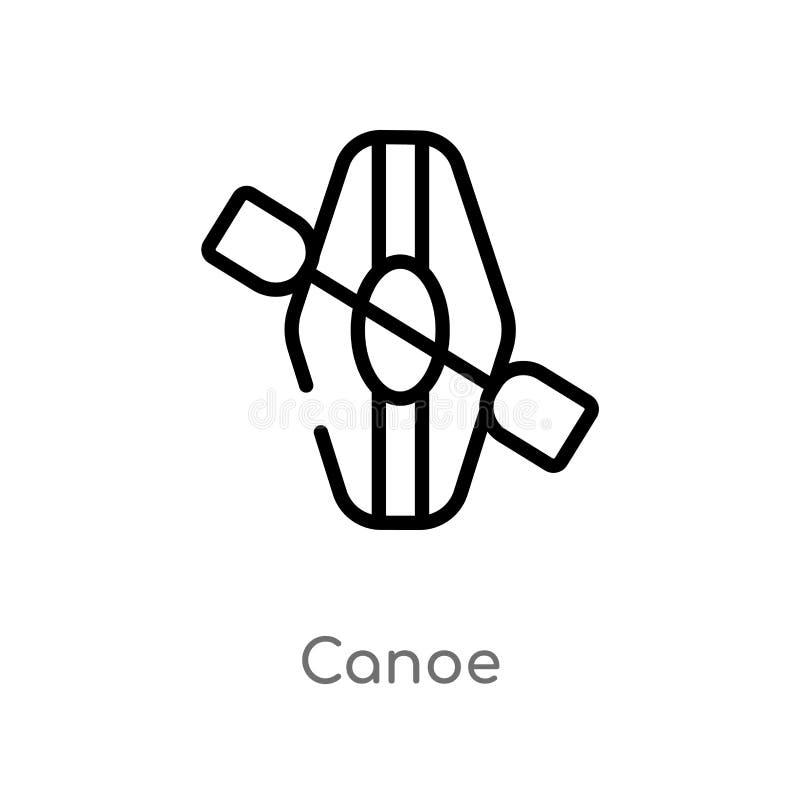 ícone do vetor da canoa do esboço linha simples preta isolada ilustração do elemento do conceito de acampamento ícone editável da ilustração royalty free