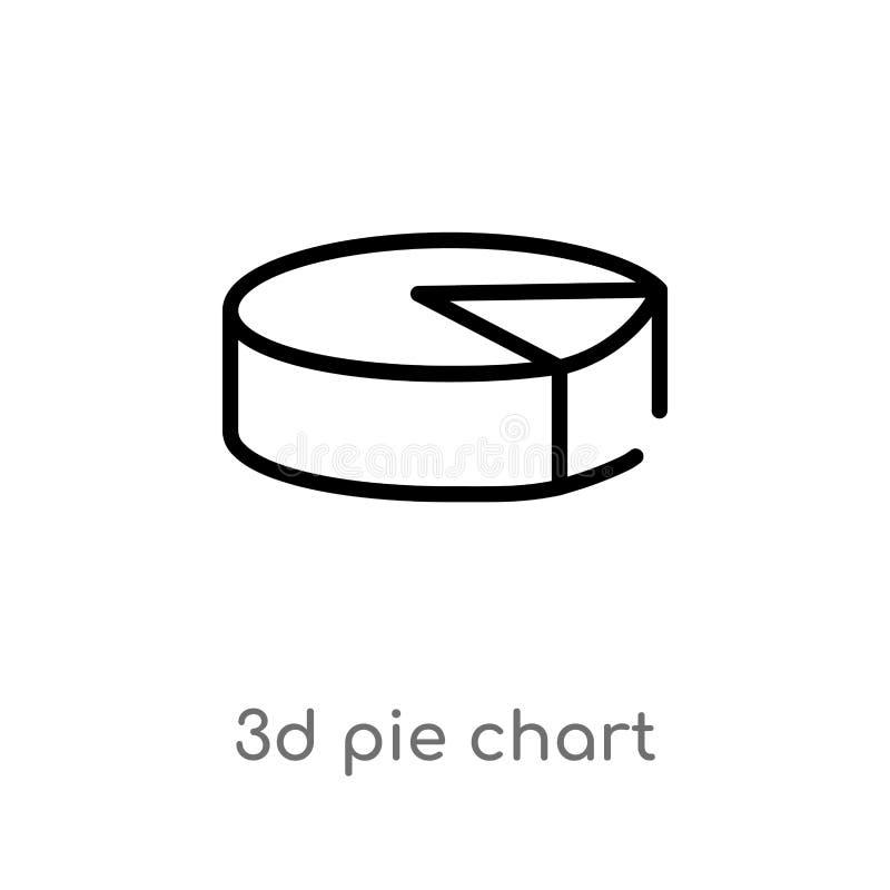 ícone do vetor da carta de torta do esboço 3d linha simples preta isolada ilustração do elemento do conceito da interface de usuá ilustração stock