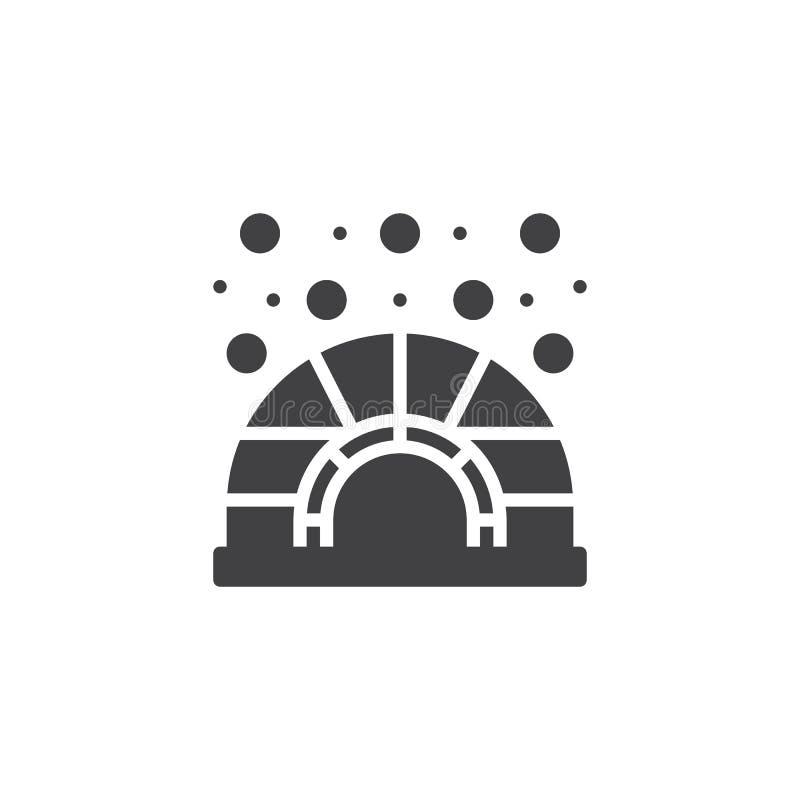 Ícone do vetor da casa do gelo do iglu ilustração do vetor