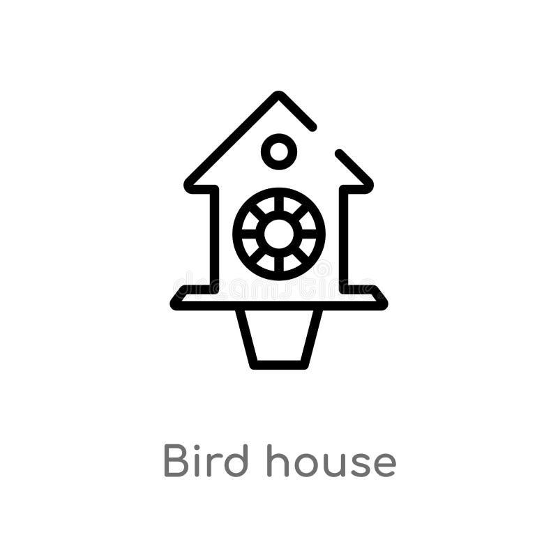 ícone do vetor da casa do pássaro do esboço r pássaro editável do curso do vetor ilustração do vetor