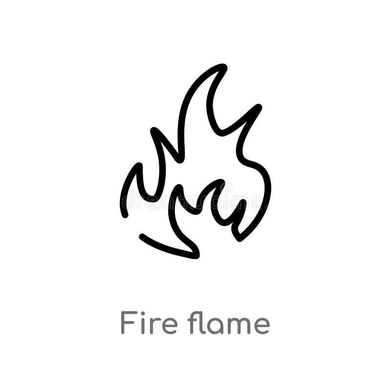 ?cone do vetor da chama do fogo do esbo?o linha simples preta isolada ilustra??o do elemento do conceito da natureza fogo edit?ve ilustração royalty free