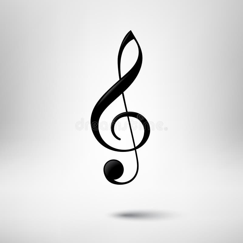 Ícone do vetor da clave de sol Elemento do projeto da música ilustração do vetor