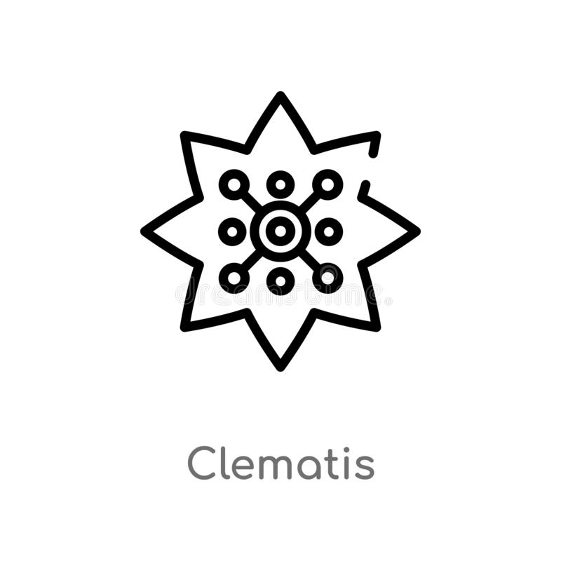 ícone do vetor da clematite do esboço linha simples preta isolada ilustração do elemento do conceito da natureza clematite editáv ilustração stock
