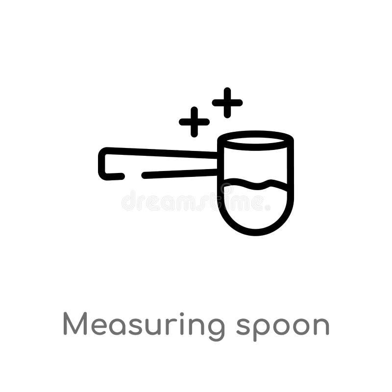 ícone do vetor da colher de medição do esboço linha simples preta isolada ilustra??o do elemento do conceito variado Vetor edit?v ilustração stock