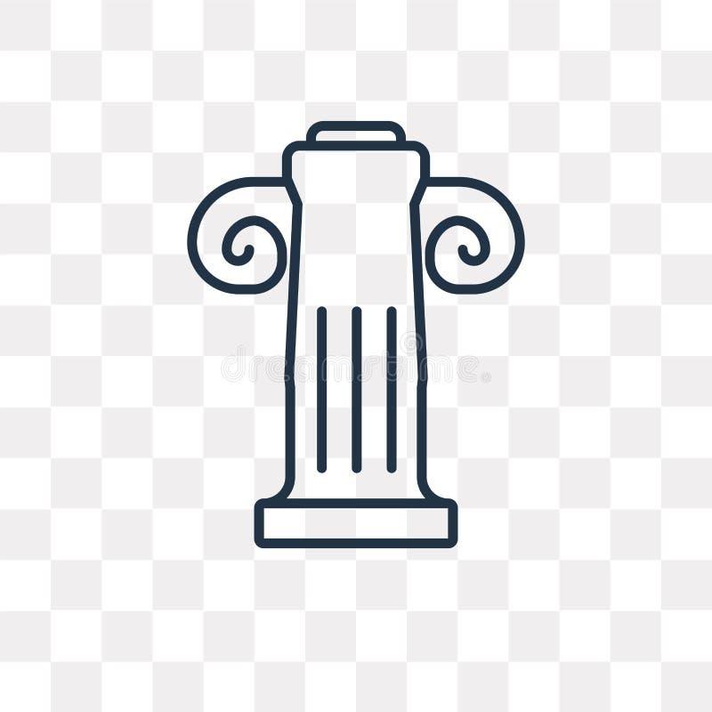 Ícone do vetor da coluna de Jonic isolado no fundo transparente, lin ilustração royalty free