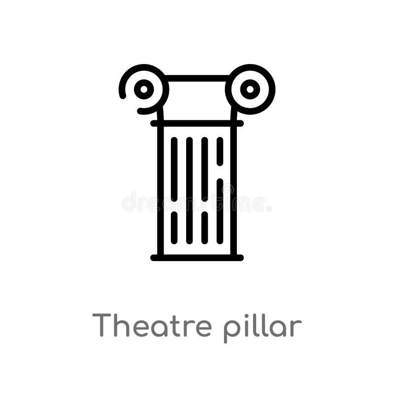 ícone do vetor da coluna do teatro do esboço linha simples preta isolada ilustração do elemento do conceito do cinema Curso editá ilustração do vetor