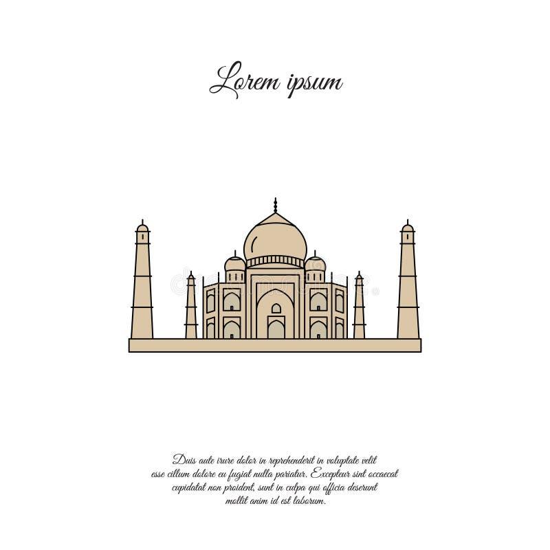 Ícone do vetor da cor de Taj Mahal, sinal ilustração stock