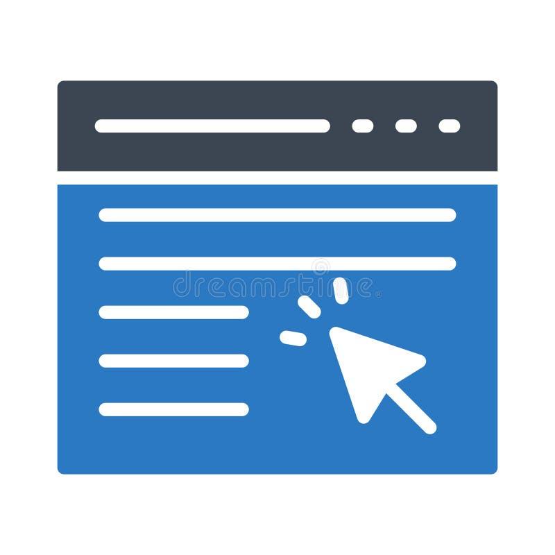 Ícone do vetor da cor do glyph do navegador do clique ilustração royalty free