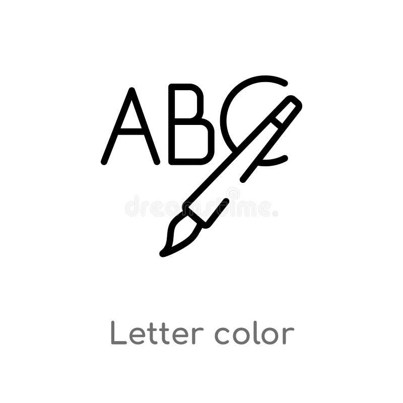 ícone do vetor da cor da letra do esboço linha simples preta isolada ilustra??o do elemento do conceito social Curso edit?vel do  ilustração stock