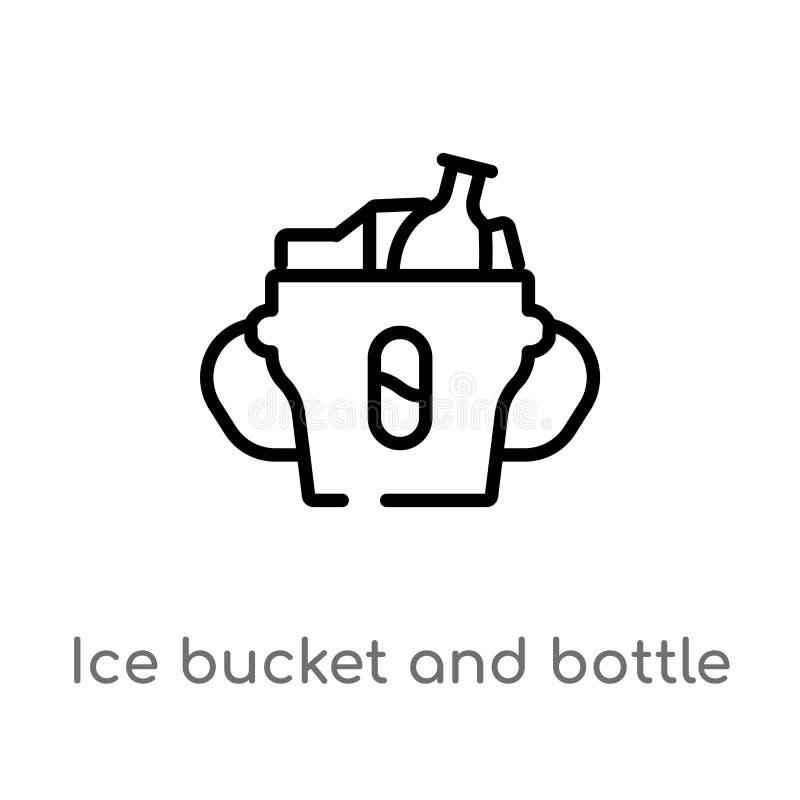 ícone do vetor da cubeta e da garrafa de gelo do esboço linha simples preta isolada ilustração do elemento do conceito das bebida ilustração stock