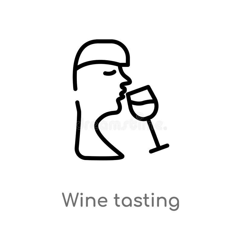 ícone do vetor da degustação de vinhos do esboço linha simples preta isolada ilustração do elemento do conceito do álcool Curso e ilustração do vetor