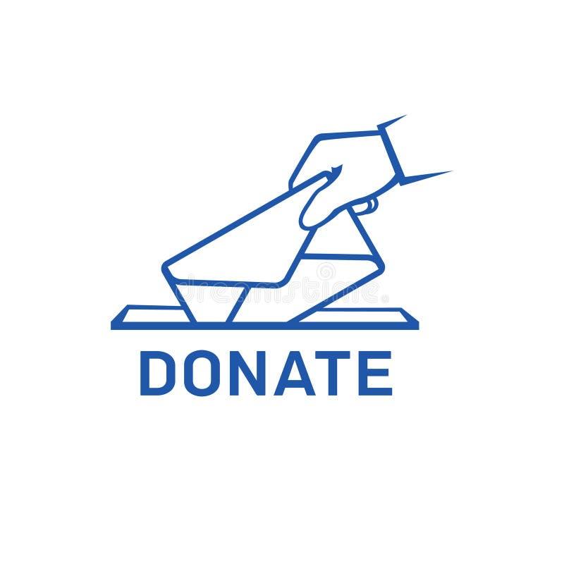 Ícone do vetor da doação Doe o dinheiro e o conceito da caridade Entregue a colocação do envelope ao ícone da caixa da doação ilustração royalty free