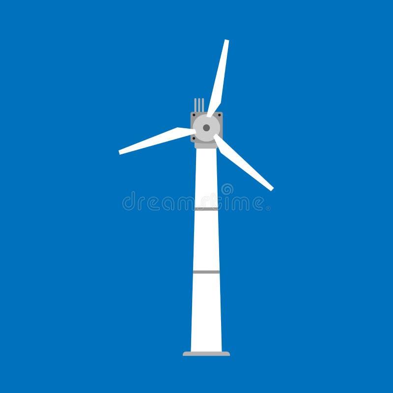 Ícone do vetor da energia do moinho de vento do poder da turbina eólica Torre alternativa do gerador do eco da indústria da tecno ilustração do vetor