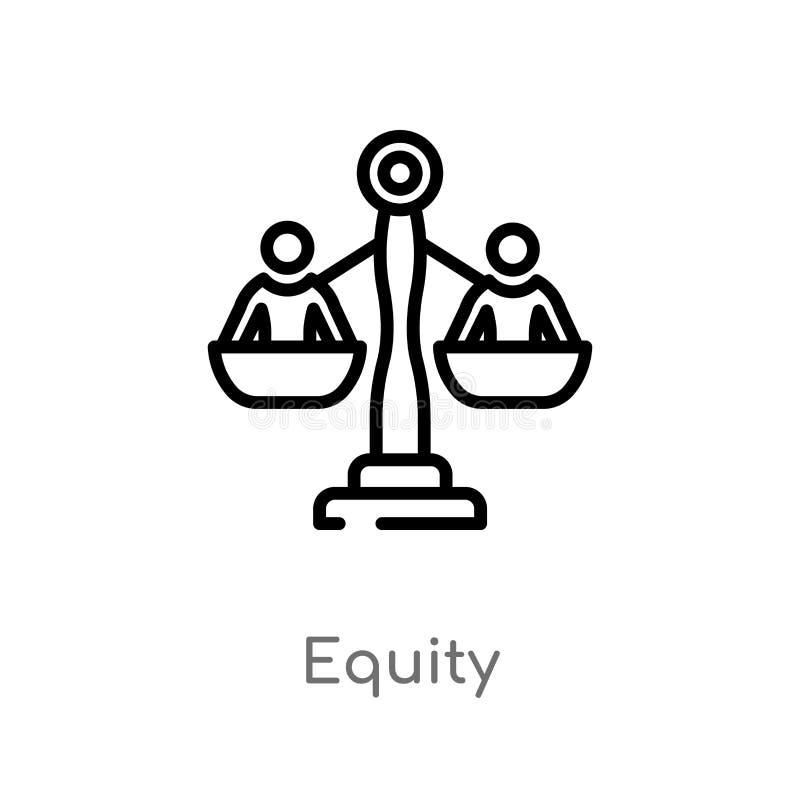 ícone do vetor da equidade do esboço linha simples preta isolada ilustração do elemento do conceito crowdfunding Curso editável d ilustração stock