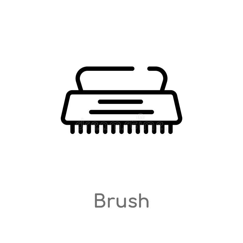 ícone do vetor da escova do esboço linha simples preta isolada ilustração do elemento do conceito de limpeza escova editável do c ilustração do vetor