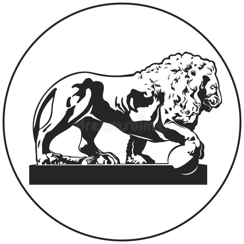 Ícone do vetor da escultura do leão do grupo do marco do russo de St Petersburg ilustração royalty free