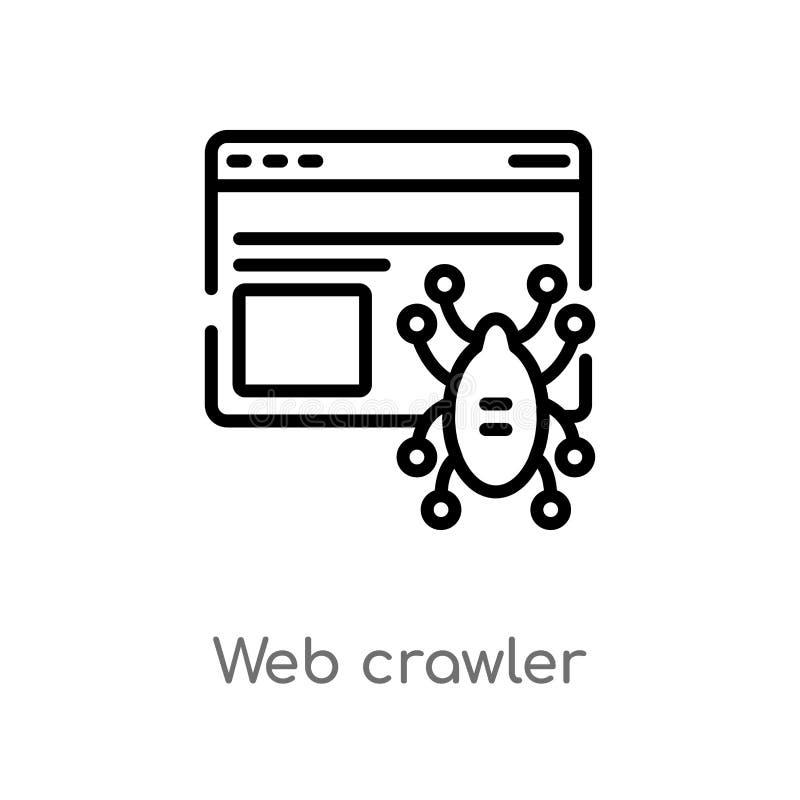 ícone do vetor da esteira rolante de Web do esboço linha simples preta isolada ilustração do elemento do conceito do ui Web editá ilustração royalty free
