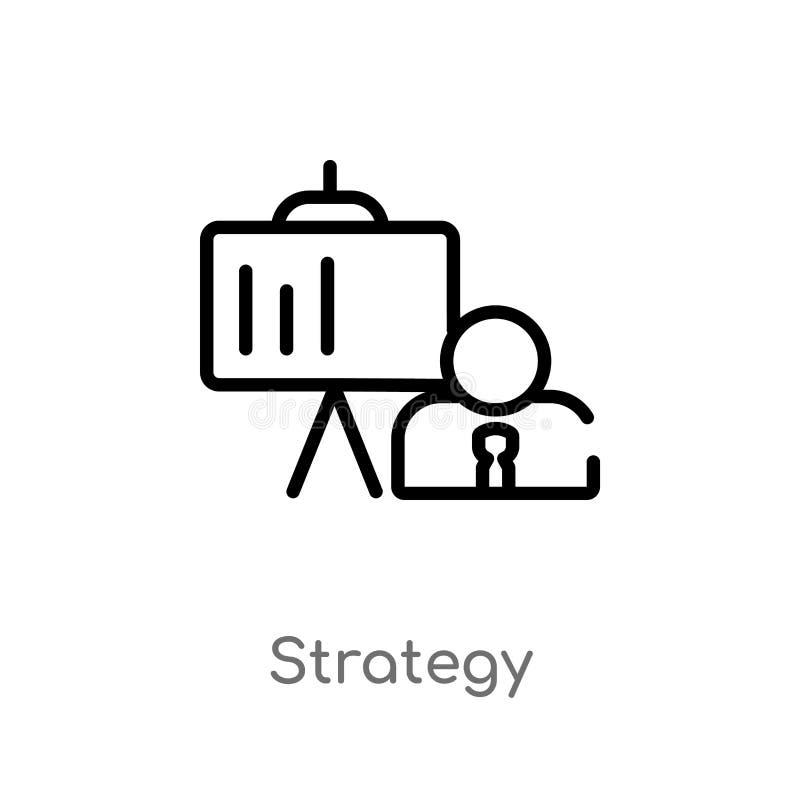 ícone do vetor da estratégia do esboço r ícone editável da estratégia do curso do vetor ilustração stock