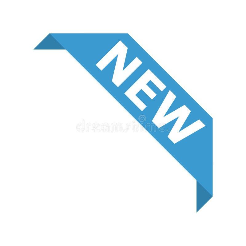 Ícone do vetor da etiqueta da bandeira da fita do canto do produto novo ilustração do vetor