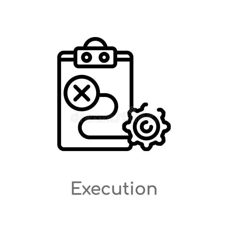 ícone do vetor da execução do esboço linha simples preta isolada ilustração do elemento do conceito de mercado Curso editável do  ilustração royalty free