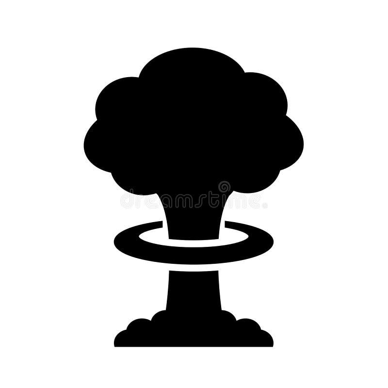 Ícone do vetor da explosão da bomba nuclear ilustração stock