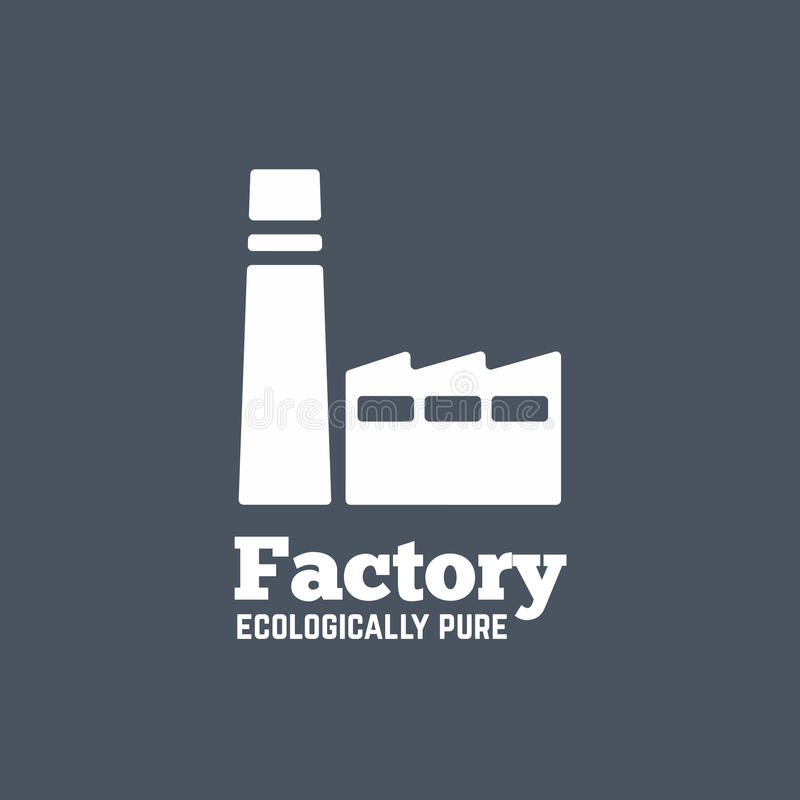 Ícone do vetor da fábrica do estilo ou molde liso do logotipo ilustração royalty free
